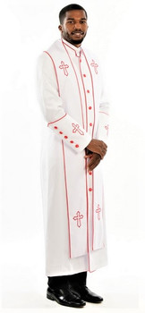 004.  Men's Trinity Clergy Robe & Stole Set In White & Red
