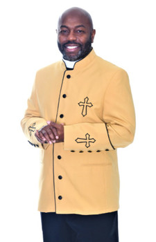 001. Trinity Clergy Jacket For Men In Gold & Black