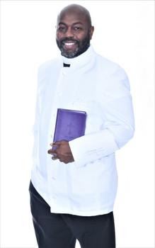 003. Trinity Clergy Jacket For Men In White on White