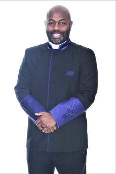 002. Men's Asbury Clergy Jacket In Black & Purple