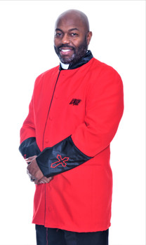 002. Men's Asbury Clergy Jacket In Red & Black
