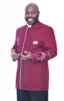 002. Men's Asbury Clergy Jacket In Burgundy & White