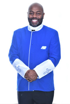 002. Men's Asbury Clergy Jacket In Royal & White -