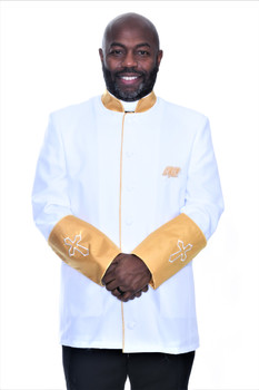 002. Men's Asbury Clergy Jacket In White & Gold