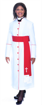001. Rachel Clergy Robe & Cincture Set For Ladies In White with Red