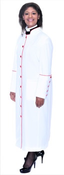 001. Rachel Clergy Robe For Ladies In White with Red