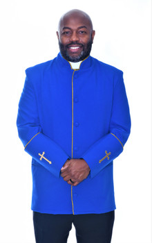 001. Men's Preacher Clergy Jacket in Royal & Gold