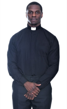 001. QuickShip: Tab Collar Clergy Shirt in Black