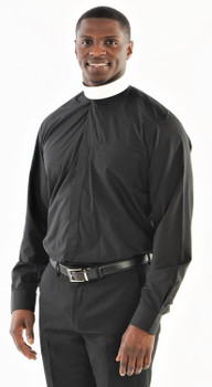 001. QuickShip: Banded Collar Clergy Shirt in Black