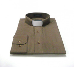 CLEARANCE 101: SHORT SLEEVE Tab Collar Clergy Shirt - TAUPE