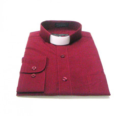 CLEARANCE 101: SHORT SLEEVE Tab Collar Clergy Shirt - BURGUNDY