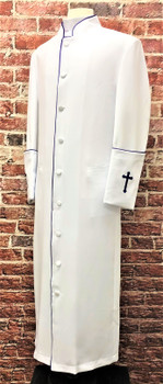 001. Clearance: Men's Preacher Clergy Robe in White & Purple