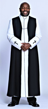 001. Men's Preacher Clergy Robe & Chimere Set in White & Black
