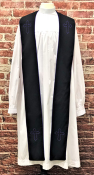 001. Trinity Clergy Stole in Black & Purple
