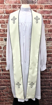 001. Trinity Clergy Stole in Cream & Black