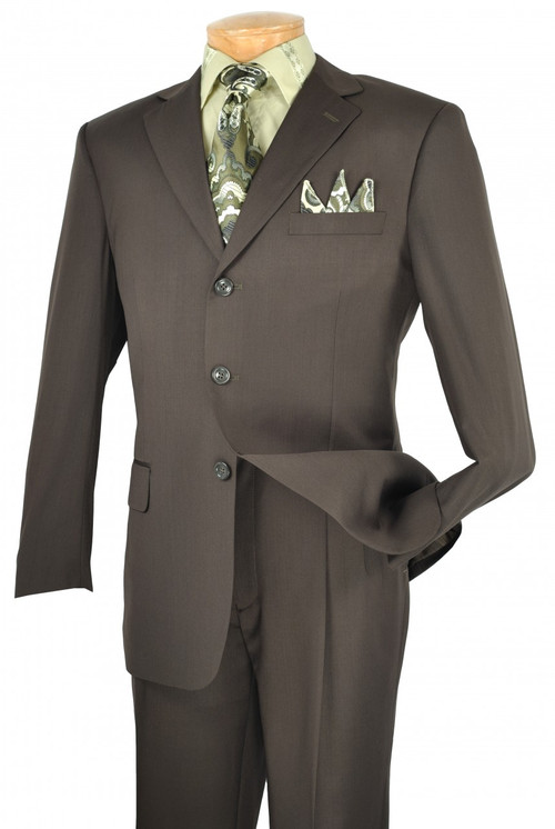 2-Piece 3-Button Solid Executive Suit In Dark Olive