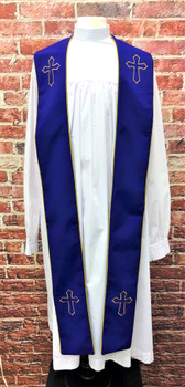 001. Trinity Clergy Stole in Purple & Gold