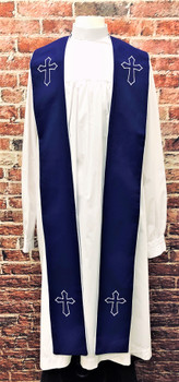 001. Trinity Clergy Stole in Purple & White