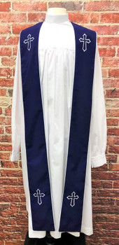 001. Trinity Clergy Stole in Plum & White