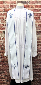 001. Trinity Clergy Stole in White & Royal