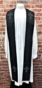 001. Gershon Clergy Stole in Black & Silver