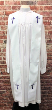 001. Preacher Clergy Stole in White & Purple