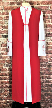001. Men's Preacher Clergy Robe & Chimere Set in White & Red