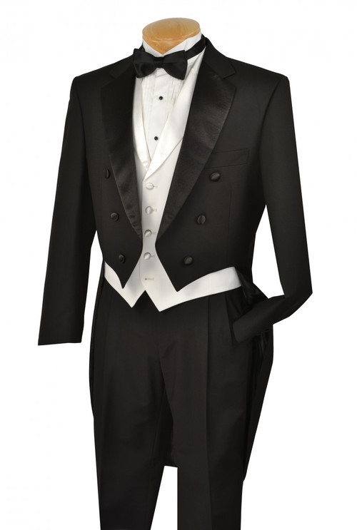 3-Piece Formal Tuxedo With Tails In Black With A White Vest