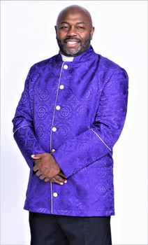001. Men's Joshua Clergy Jacket in Purple & Gold
