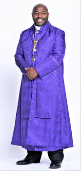 0001. Men's Joshua Clergy Vestment in Purple & Gold - 5 Pieces Included