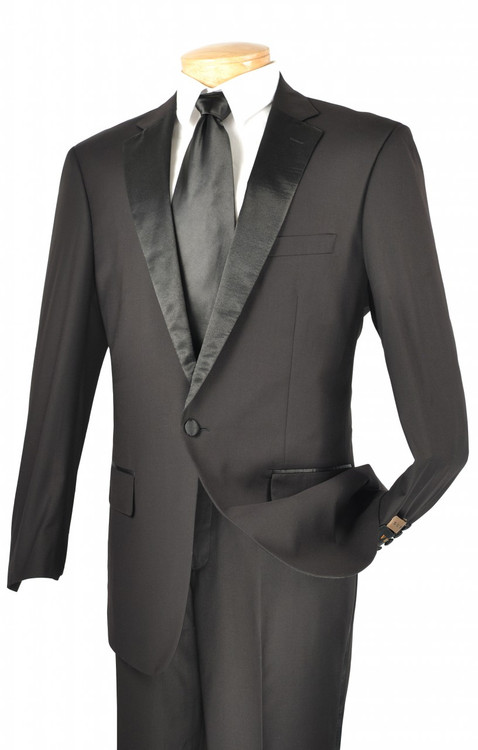 2-Piece 1-Button Formal Tuxedo In Black