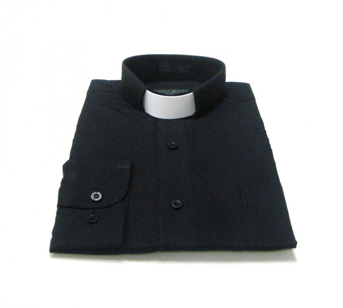 Tab Collar Affordable Clergy Shirt in Black