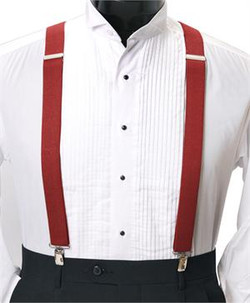 Men's Clip-On Suspender Set In RED