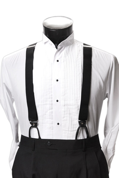 Men's Button-Hold Suspender Set In BLACK