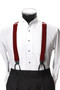 Men's Button-Hold Suspender Set In BURGUNDY