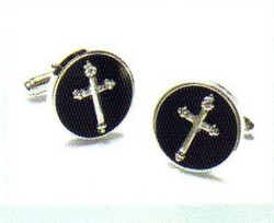 Cufflink Set in Silver & Black w/ a Silver Cross