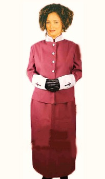 "The ""Rebecca"" 2-Piece For Ladies In Burgundy & Silver"