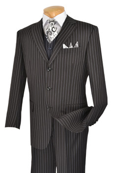 3-Piece Classic Pin Stripe Suit In Black
