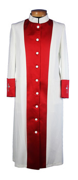 The Joelene Clergy Robe for Ladies - Creme & Red