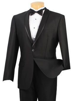 Slim Fit 2-Button Trimmed Shark Skin Suit By Vinci In Black