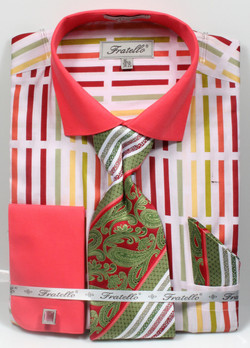 Dress Shirt, Tie, Handkerchief, & Cufflink Set - FRV4133