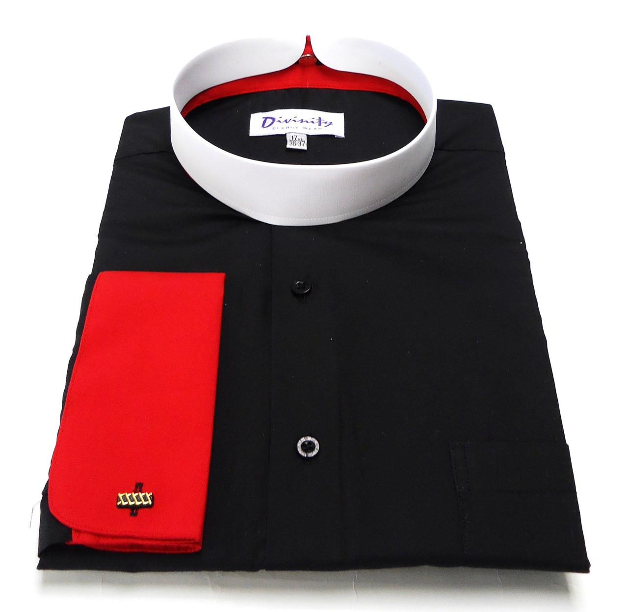Two Tone French Cuff Banded Bishop Collar Clergy Shirt Divinity