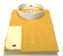 Men's Banded Collar French Cuff Clergy Shirt In Gold