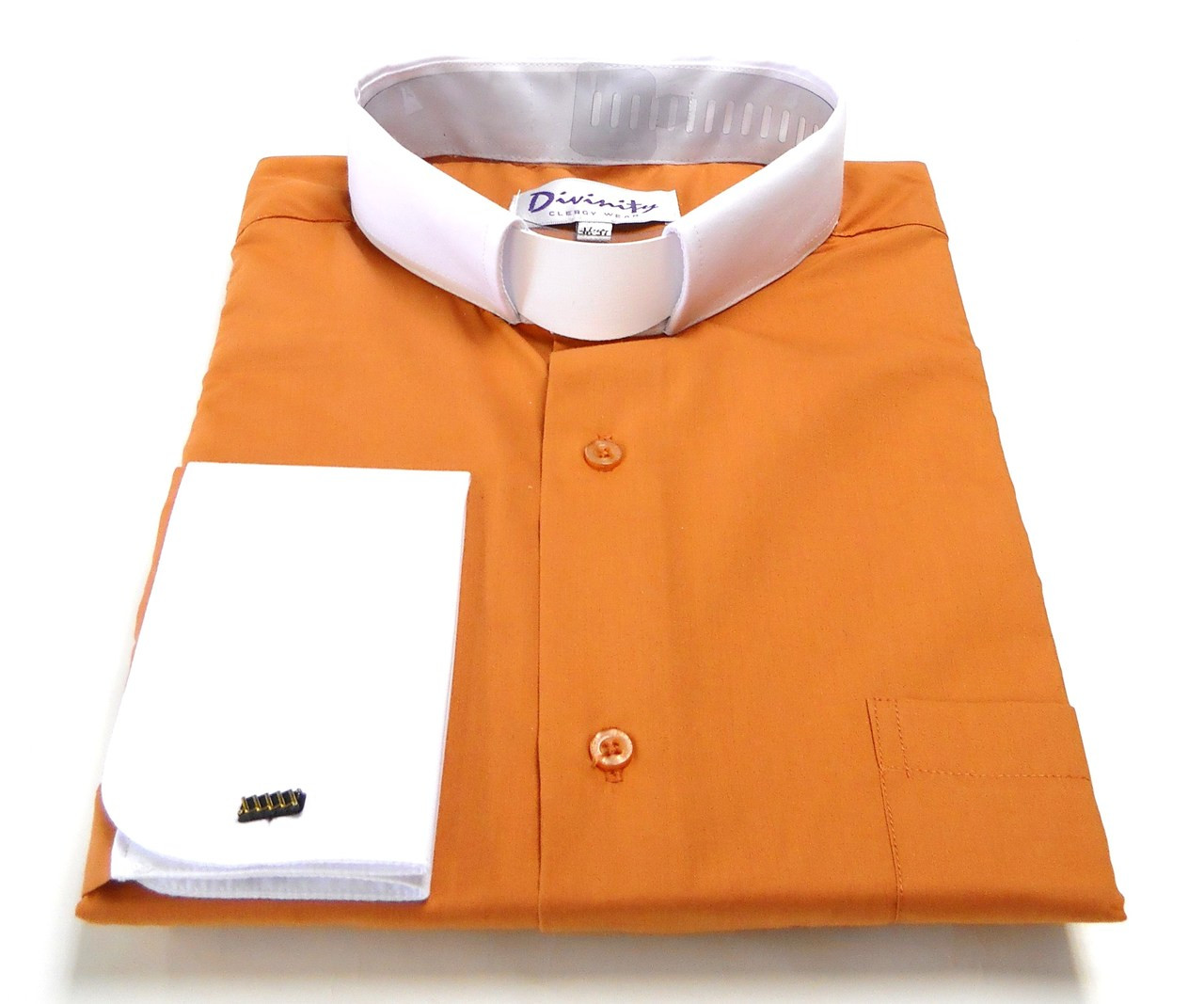 Two Tone French Cuff Tab Collar Clergy Shirts In Burnt Orange