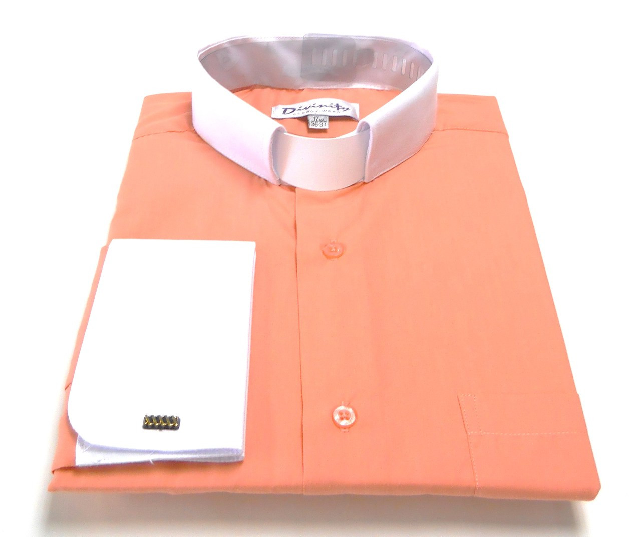 Two Tone French Cuff Tab Collar Clergy Shirts In Coral