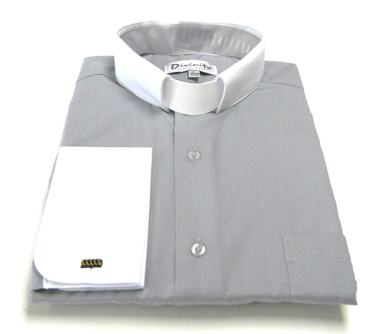 Two Tone French Cuff Tab Collar Clergy Shirts In Silver