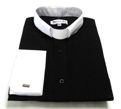 Two-Tone French Cuff Clergy Shirt In Black