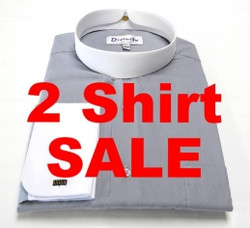 2 Banded Collar Two-Tone Clergy Shirts For $69.99 - 11 Colors Available