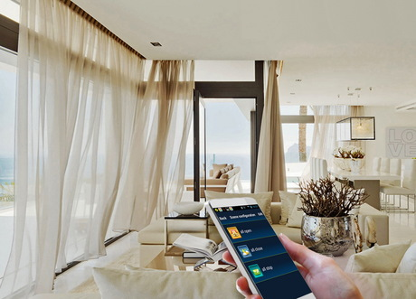 Motorized Curtain System With Remote Control And Smart Option