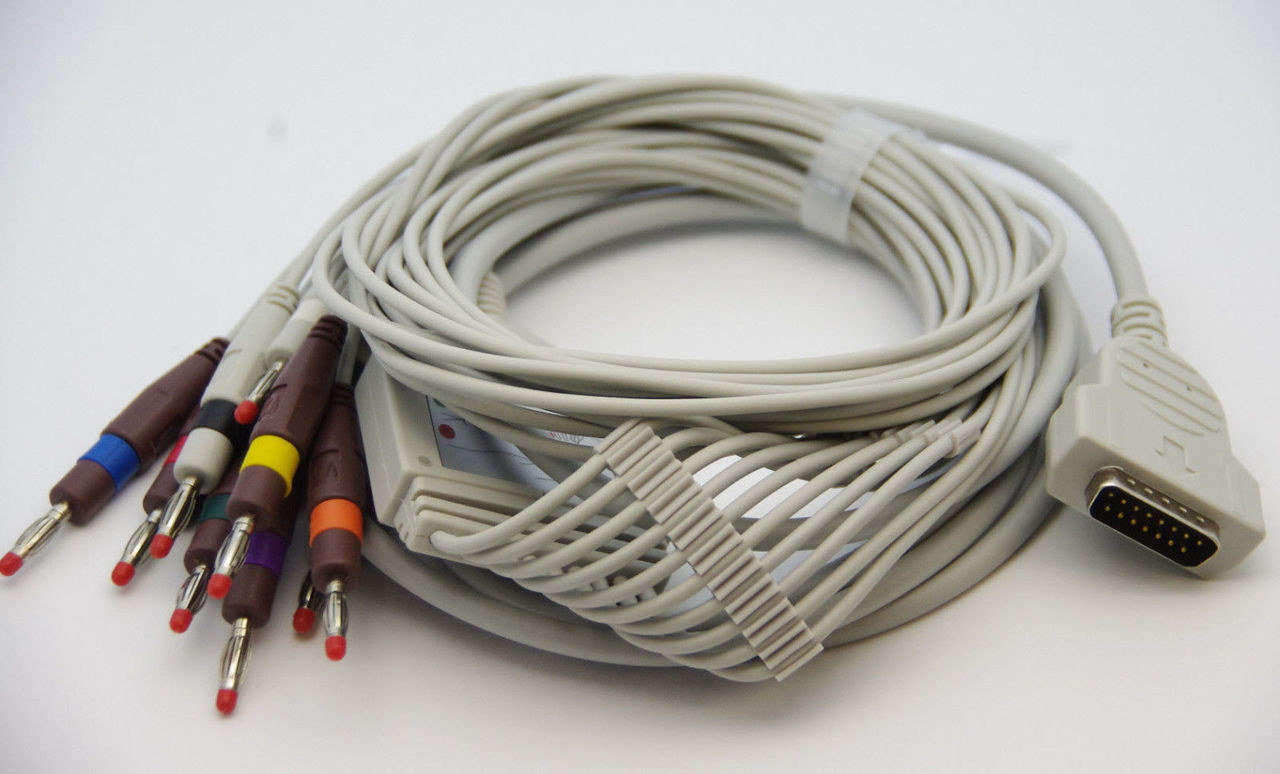 1 PIECE ECG/EKG CABLE FOR GE-MARQUETTE ,10 LEAD, 4MM PIN AHA COLOR